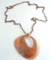 Vintage Style Huge Marbled Lucite Abstract Oval Statement Necklace.